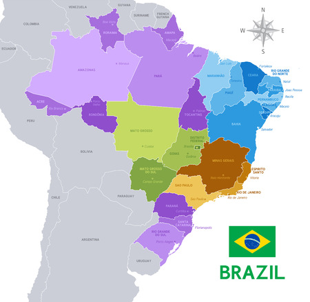 Vector Illustration of a Brazilian federation Administrative Map Vettoriali