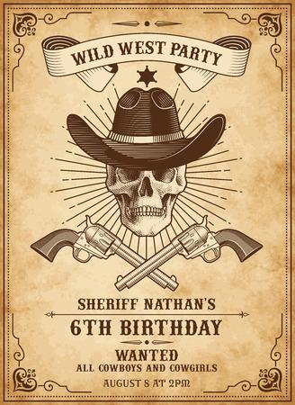 Plantilla de invitación de aspecto vintage para una fiesta o evento con el salvaje oeste o el tema de la muerte del vaquero