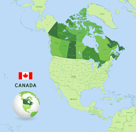 Vector illustration of Canada Administrative Map in Shades of Green