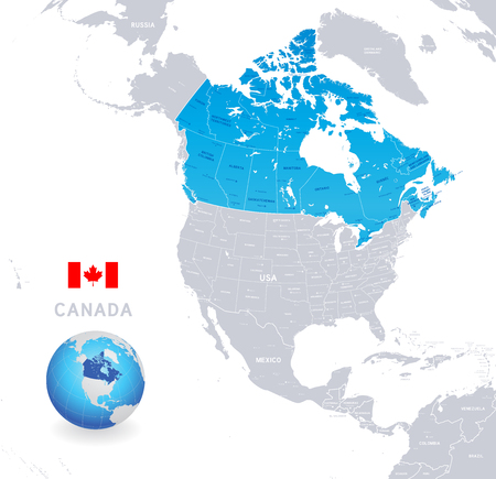 Vector illustration of Canada Administrative Map in Shades of Blue Illustration