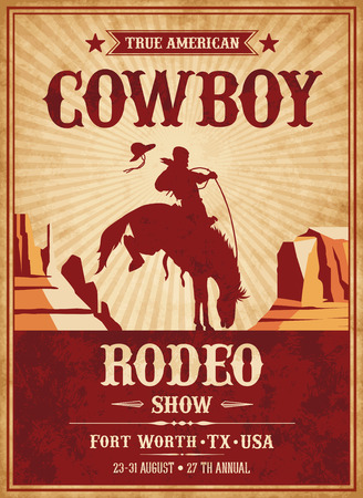 Vector Invite template for a Rodeo or Wild West theme party Vectores