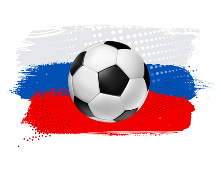 Vector Soccer Football ball on a colorful painted background with russia flag colors