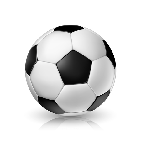 Vector realistic illustration of a football or soccer ball with shadow and reflex