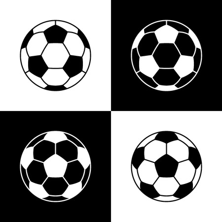 Soccer ball icons. Flat vector illustration in all black and white combinations. Stock Illustratie