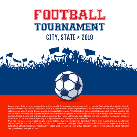 Design for Football events, like tournaments or cups, with supporters silhouettes and football on white, red and blue colors