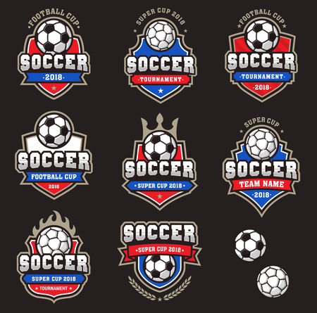 Collection of generic Football or Soccer team logos of Championship Logos 矢量图像