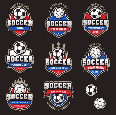 Verzameling van generieke voetbal- of voetbalteamlogo's van kampioenschapslogo's