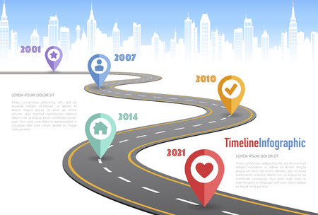 Vector Curved road with white lines in perspective view and infographic elements designed for a timeline concept