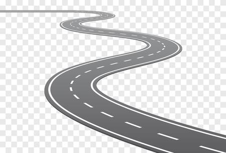 Vector Curved road with white middle line in perspective view
