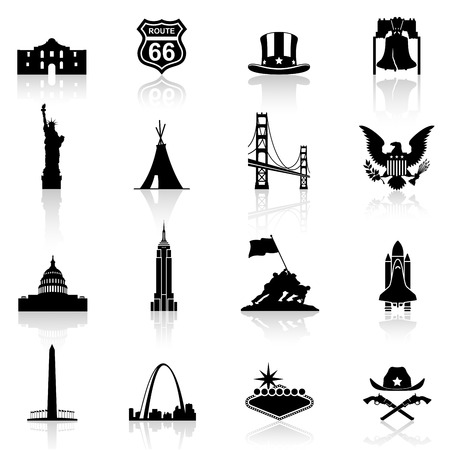 A high quality and detail collection of famous monuments and Icons of American Culture.  イラスト・ベクター素材