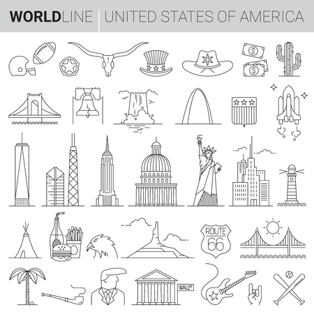 United States cultural icons in thin line vector illustrations Vettoriali