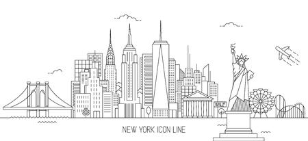 Ilustración de vector de horizonte de Nueva York en estilo de arte de línea