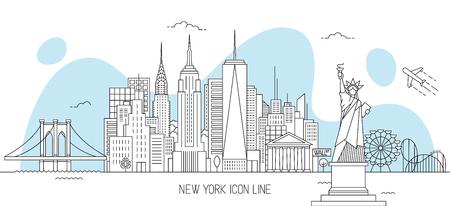Ilustración de vector de horizonte de Nueva York en estilo de arte de línea Ilustración de vector