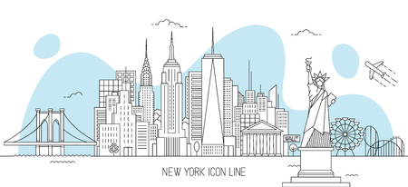 New York skyline vector illustration in line art style Archivio Fotografico - 104449746