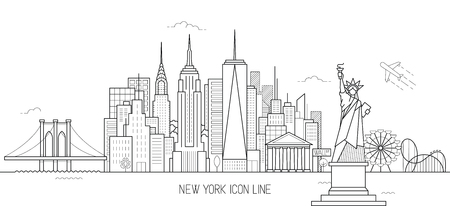 New York skyline vectorillustratie in lijn kunststijl