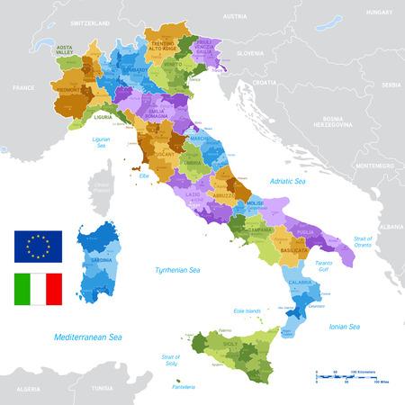 Mapa político vectorial de Italia con los límites completos de las regiones y provincias, completado con banderas italianas y de la UE. Ilustración de vector