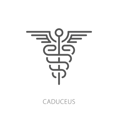 Caduceus icon vector illustration. Thin line modern style Çizim