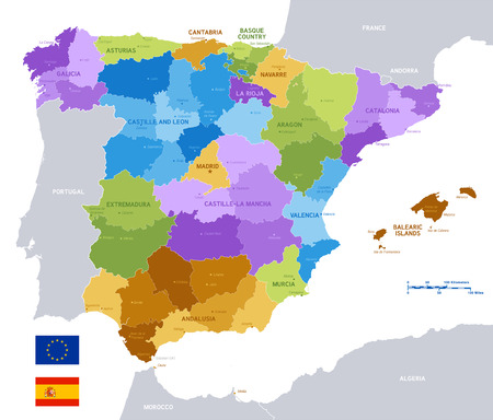 Vector Political Map of Spain with full Region and Provinces Boundaries, completed with flags of Spain and EU