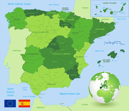 Vector Political Map of Spain with full Region and Provinces Boundaries, completed with flags of Spain and EU and an Earth Globe centered on Europe