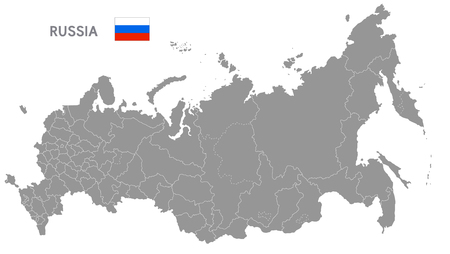 Mapa del vector gris de Rusia con fronteras administrativas