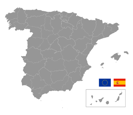 Vector grey map of spain with Administrative borders