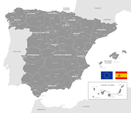 Grey Vector Map of Spain with Administrative borders, City and Region Names and international bordering countries Illustration
