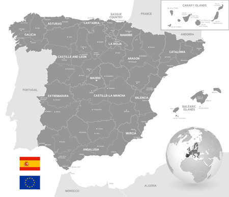 Grey Vector Map of Spain with Administrative borders, City and Region Names, international bordering countries and a 3D Globe centered on Spain