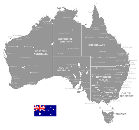 Grey Vector Map of Australia with Administrative borders and City and Region Names Ilustração