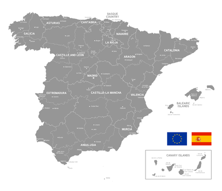 Grey Vector Map of spain with Administrative borders and City and Region Names Illustration