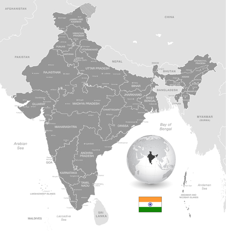 Grey Vector Map of India with Administrative borders, City and Region Names, international bordering countries and a 3D Globe centered on India
