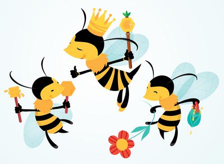 Illustrazione vettoriale di tre api volanti del fumetto, una regina e due operaie, che giocano con fiori e miele