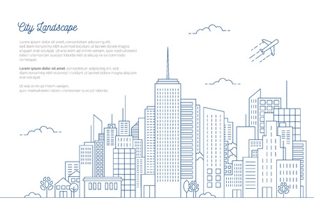 city skyline vector illustration urban landscape with thin line Style on white background Ilustração