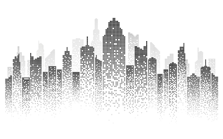 city skyline vector illustration urban landscape created by the position of black windows on white backgrond Vektoros illusztráció