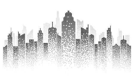 Ilustración de vector de horizonte de la ciudad paisaje urbano creado por la posición de ventanas negras sobre fondo blanco Ilustración de vector