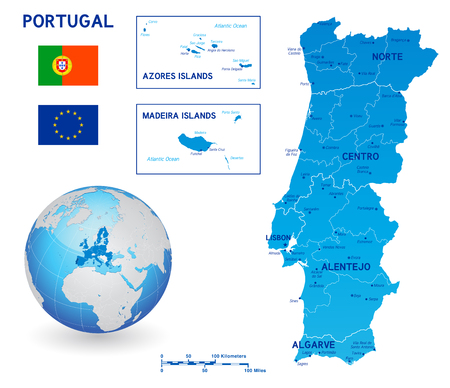 Blue political vector map of Portugal and main islands with flags of Portugal and European Union and a 3D globe centered on Europe with EU countries and Portugal highlighted.