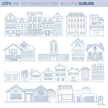 Line ART vol 9. Original Line art Vector Illustration Collection of City suburb typical homes and shops