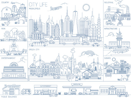 Collection of line art vector illustrations of city neighborhoods, infrastructure, buildings and views Vector Illustration