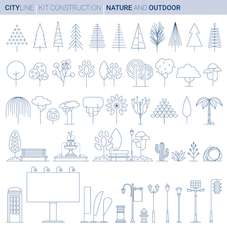 Line ART vol 5. Original Line art Vector Illustration Collection of Natural and artificial city decorations and typical elements Banque d'images - 111717538