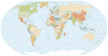 Colorata classica mappa vettoriale di proiezione Robinson del mondo, abilmente stratificata e con i nomi di tutti i paesi, le capitali e le principali città, le principali caratteristiche geografiche. Vettoriali