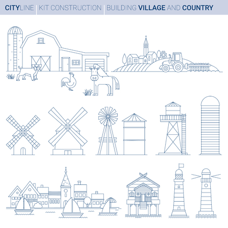 Line ART vol 11. Original Line art Vector Illustration Collection of Farm, Sea and Lake elements Stock Vector - 111717540