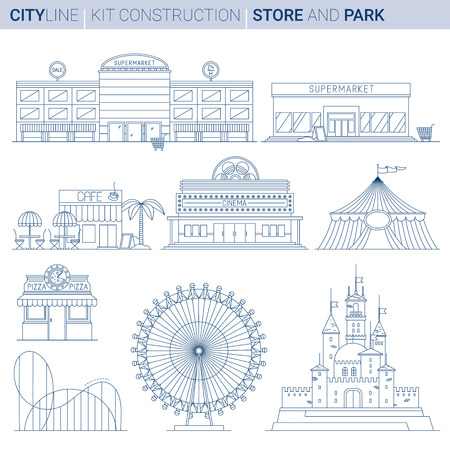 Line ART vol 8. Original Line art Vector Illustration Collection of City service and entertainment buildings