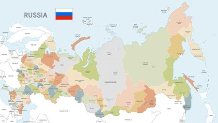 Mapa del vector de Rusia con fronteras administrativas, nombres de ciudades y regiones y países limítrofes internacionales en una paleta de colores suaves