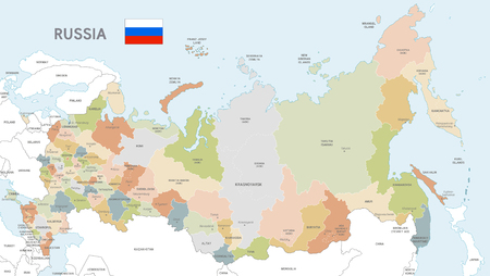 Vector Map of Russia with Administrative borders, City and Region Names and international bordering countries in soft colors palette