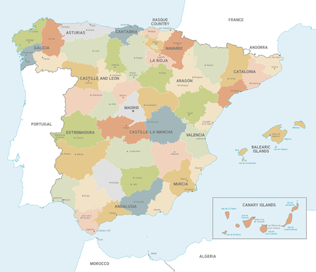 Vector Map of Spain with Administrative borders, City and Region Names and international bordering countries in soft colors palette Illustration