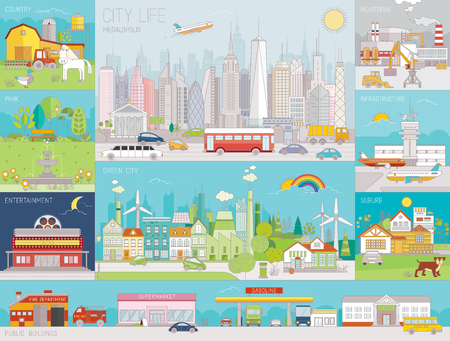 Collection of Colorful line art vector illustrations of city neighborhoods, infrastructure, buildings and views