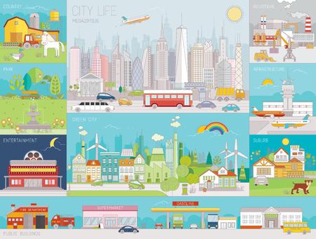 Raccolta di illustrazioni vettoriali colorate di arte di linea di quartieri, infrastrutture, edifici e viste della città Vettoriali
