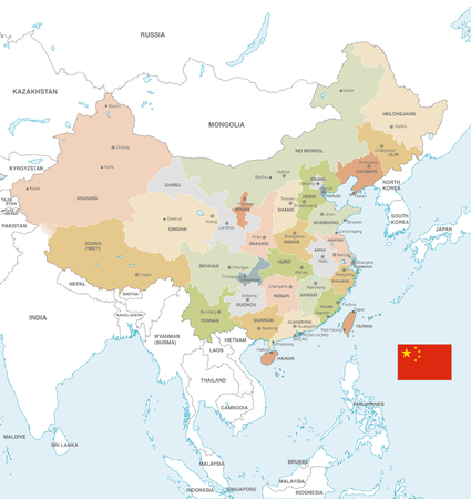 Vector Map of China with Administrative borders, City and Region Names and international bordering countries in soft colors palette.