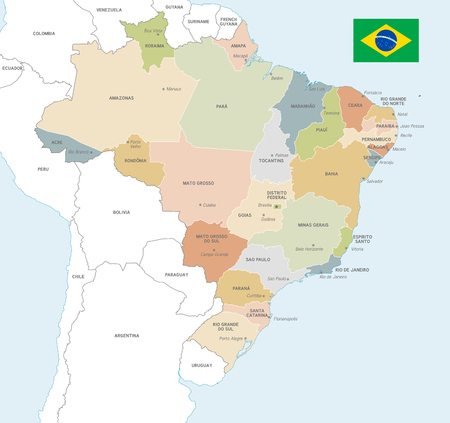 Vector Map of Brazil with Administrative borders, City and Region Names and international bordering countries in soft colors palette