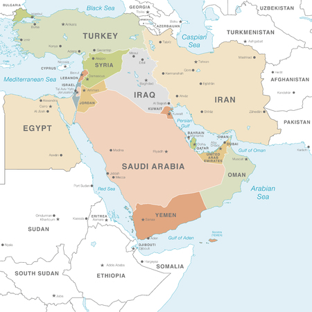 High detail map of the Middle East Zone with Countries, Capitals, Main Cities and Seas and islands names in classic soft colors palette.