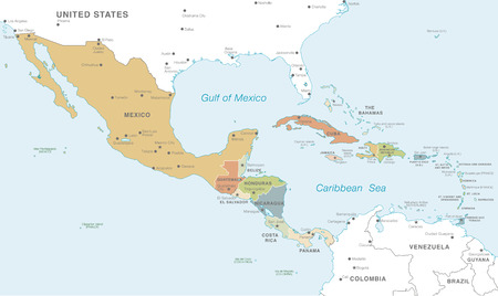 Vector map of Central America with Countries, Capitals, Main Cities and Seas and islands names in classic soft colors palette.